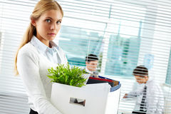 Businesswoman being fired Stock Images