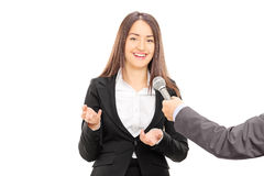 Businesswoman being interviewed Royalty Free Stock Photo