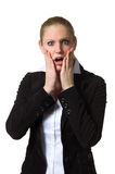 Businesswoman being shocked Stock Photography