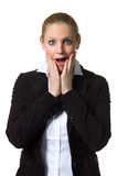 Businesswoman being surprised Royalty Free Stock Image