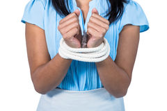 businesswoman being tied up Royalty Free Stock Photography