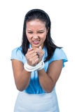 businesswoman being tied up Royalty Free Stock Images