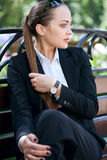 Businesswoman on bench Royalty Free Stock Photo