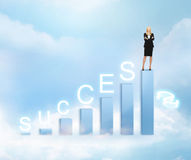Businesswoman with big 3d chart Royalty Free Stock Photo