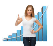Businesswoman with big 3d chart Stock Photography