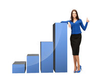 Businesswoman with big 3d chart Stock Images
