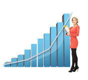 Businesswoman with big 3d chart and folders Royalty Free Stock Image