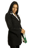 Businesswoman with big binder Stock Images