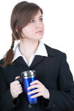 Businesswoman with big blue cup Royalty Free Stock Photo