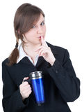 Businesswoman with big blue cup, keeping silence Royalty Free Stock Photo