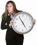 Businesswoman With Big Clock Royalty Free Stock Photo