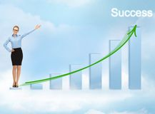 Businesswoman with big 3d chart Royalty Free Stock Photography