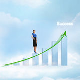 Businesswoman with big 3d chart in the sky. Business concept - businesswoman with big 3d chart in the sky Royalty Free Stock Photo
