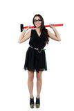 Businesswoman with big hummer Royalty Free Stock Photography