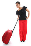 Businesswoman with big suitcase Royalty Free Stock Image