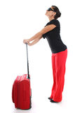 Businesswoman with big suitcase Royalty Free Stock Photo