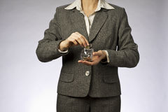 Businesswoman and biggy Royalty Free Stock Photos