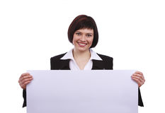 Businesswoman with billboard. Stock Image
