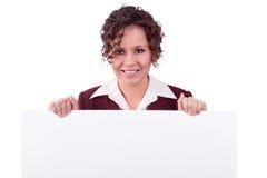 Businesswoman with billboard. Stock Photo