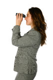 Businesswoman with binocular Royalty Free Stock Photos