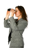 Businesswoman with binocular Royalty Free Stock Images