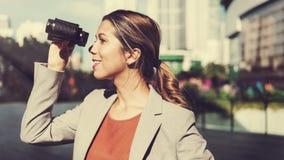 Businesswoman Binocular Finding Vision Corporate Concept Stock Photo
