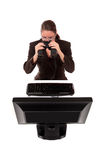 Businesswoman binoculars Royalty Free Stock Photo