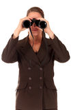 Businesswoman binoculars Royalty Free Stock Photos