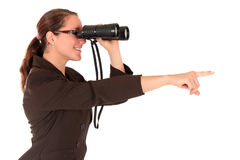 Businesswoman binoculars Royalty Free Stock Images