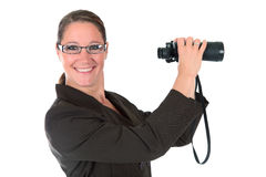 Businesswoman binoculars Royalty Free Stock Photography