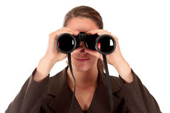 Businesswoman binoculars Stock Image
