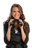 Businesswoman With Binoculars Stock Photo