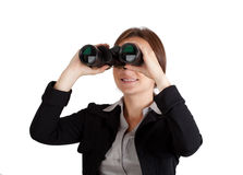 Businesswoman with binoculars Stock Image