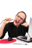 Businesswoman bitting a cable Stock Image