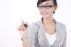 Businesswoman with black marker Royalty Free Stock Image