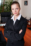 Businesswoman in black suit Royalty Free Stock Photos