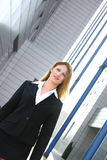 Businesswoman In Black Suit Angled Stock Photography