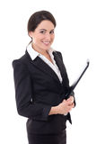 Businesswoman in black suit with folder isolated on white Stock Photo