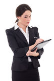Businesswoman in black suit with pen and folder isolated on whit Stock Photos