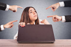 Businesswoman blamed unfairly Royalty Free Stock Photo