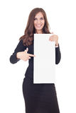 Businesswoman on  blank  banner Royalty Free Stock Photos