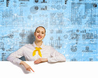 Businesswoman with blank banner Royalty Free Stock Image