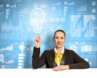 Businesswoman with blank banner Royalty Free Stock Photography