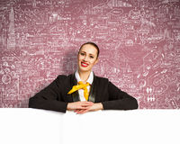 Businesswoman with blank banner Royalty Free Stock Images