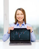 Businesswoman with blank black laptop screen Royalty Free Stock Photo
