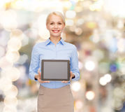Businesswoman with blank black tablet pc screen Stock Photos