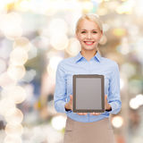Businesswoman with blank black tablet pc screen Royalty Free Stock Photo