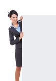 Businesswoman with blank board Royalty Free Stock Photography