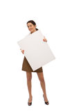 Businesswoman with blank board Stock Photo