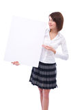 Businesswoman with blank board Royalty Free Stock Photos